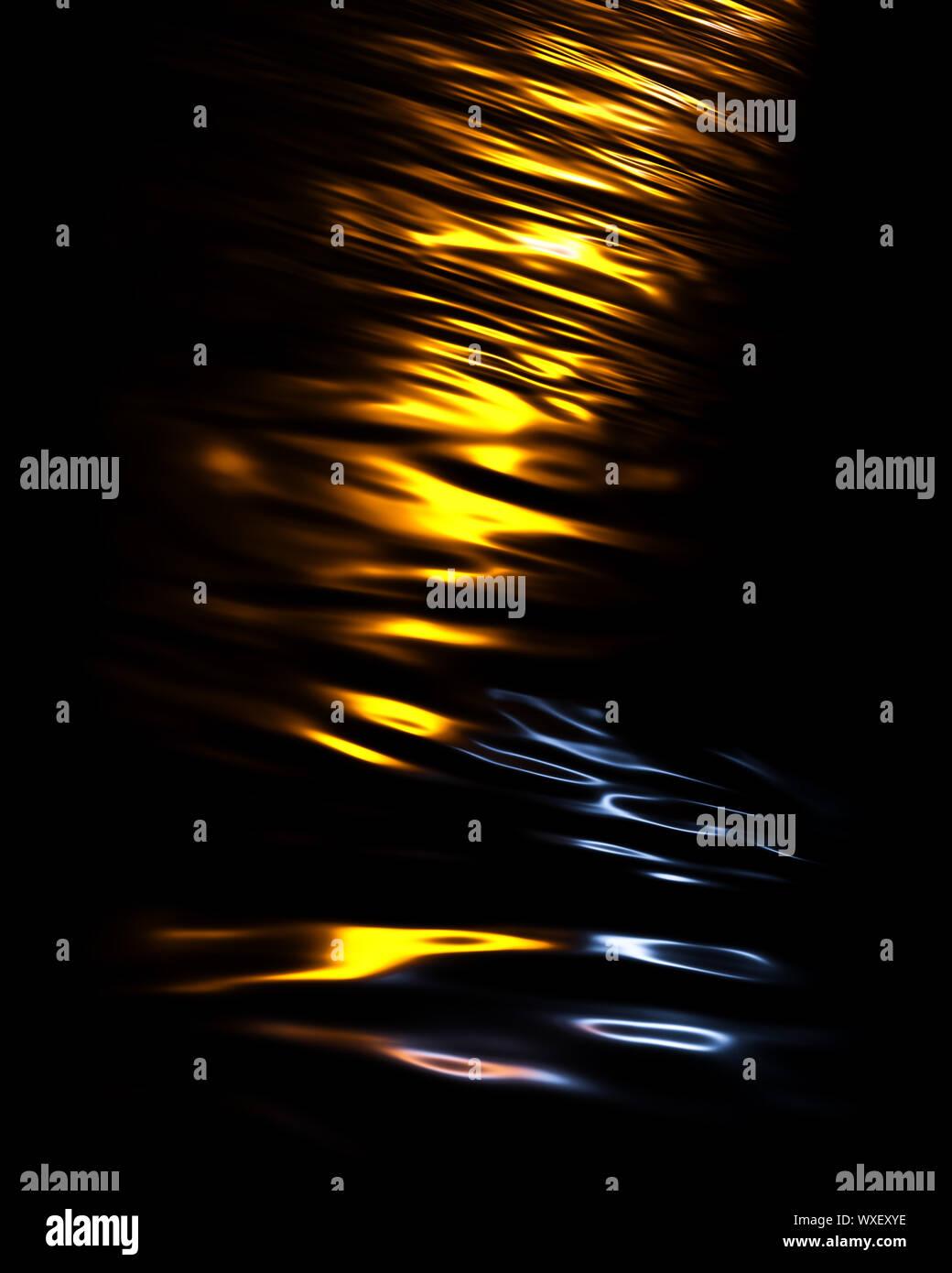dark water lights reflections background Stock Photo