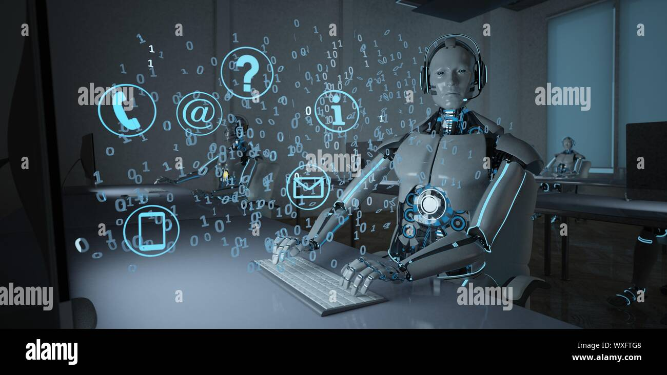 Humanoid Robot Call Center Stock Photo