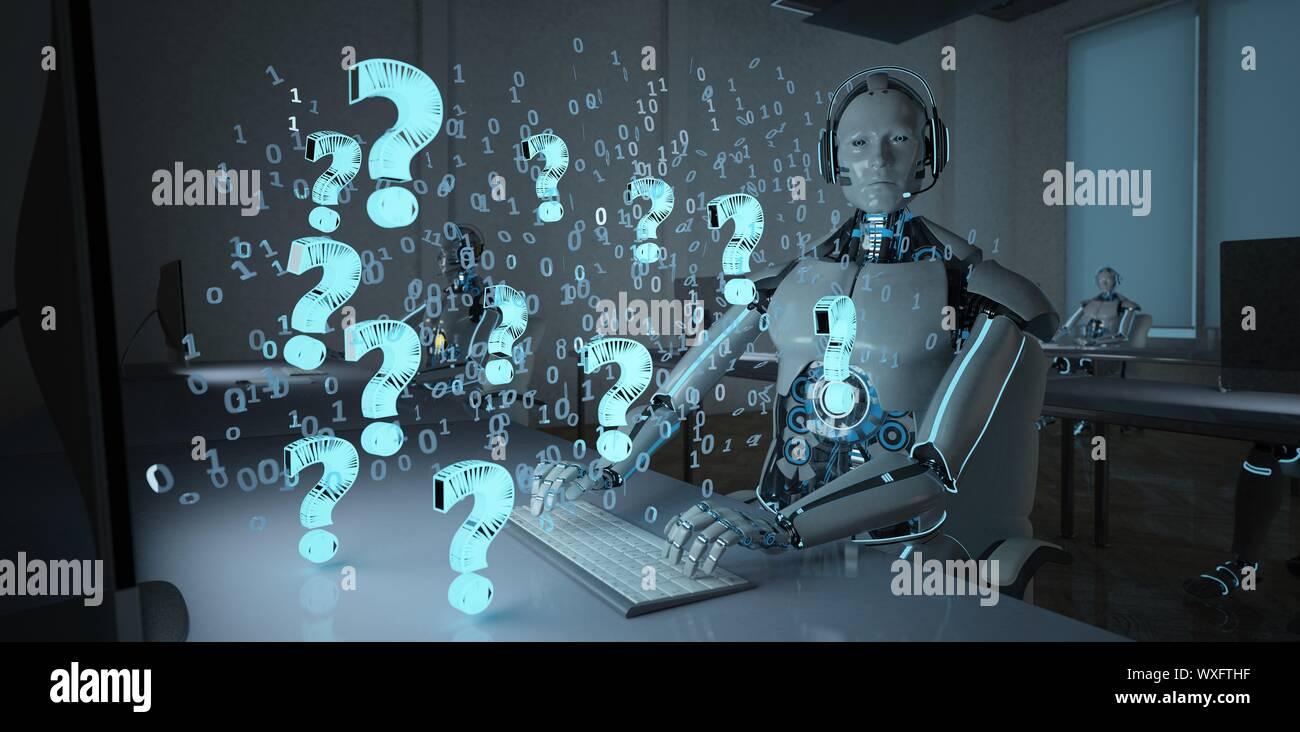 Humanoid Robot Call Center Question Stock Photo
