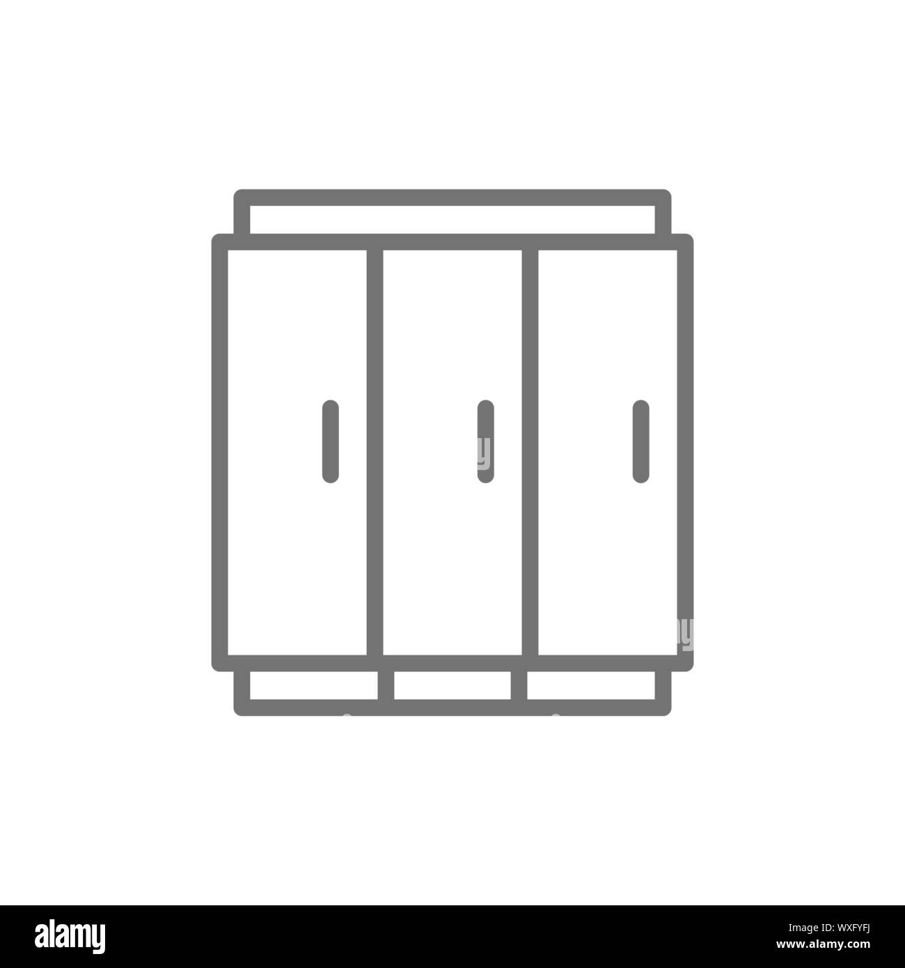 3 doors fridge, fridge for drinks line icon. Stock Vector