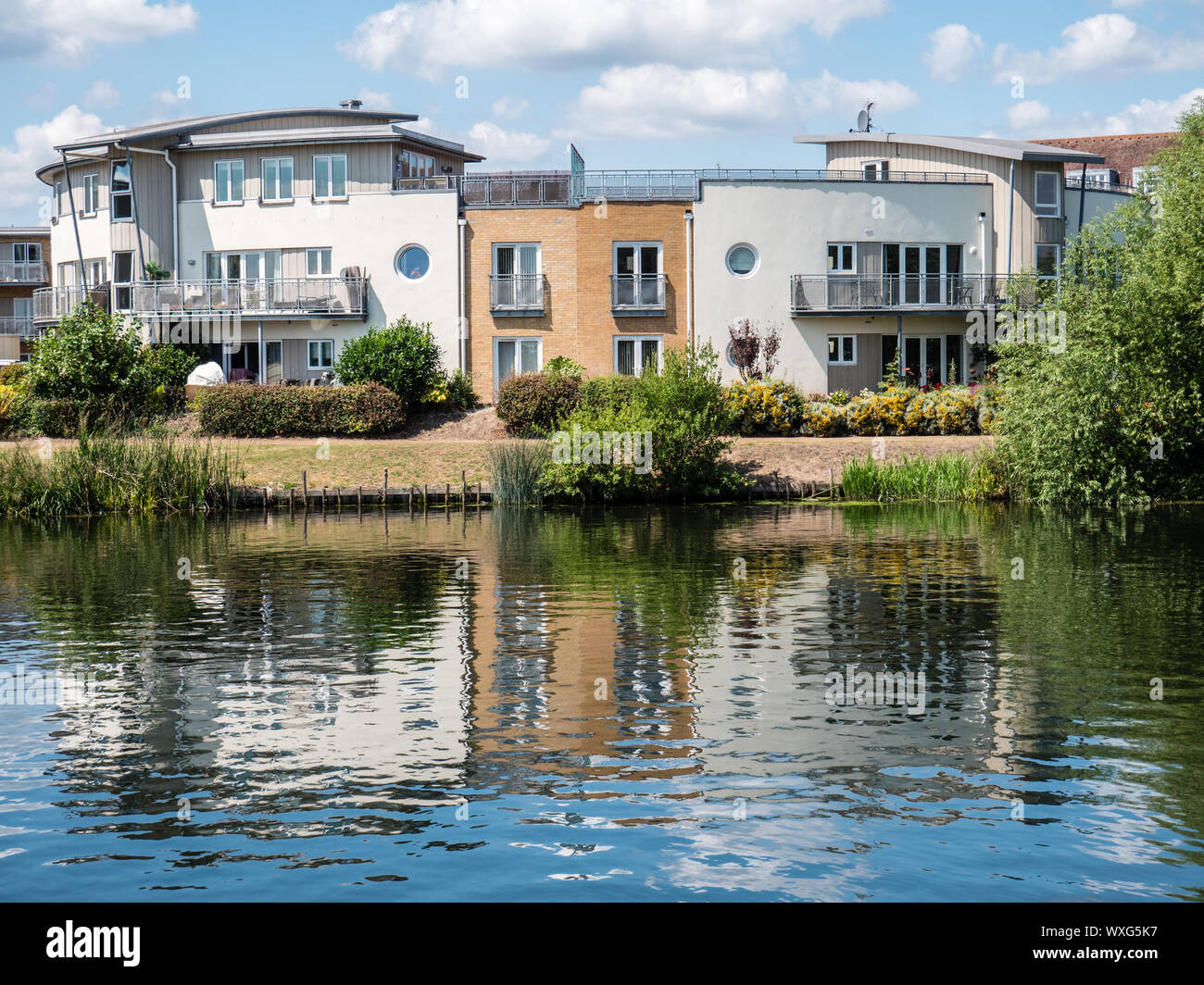 Bridge Wharf viewed from Dumsey Meadow, Across the River Thames, Chertsey, Surrey, England, UK, GB. Stock Photo