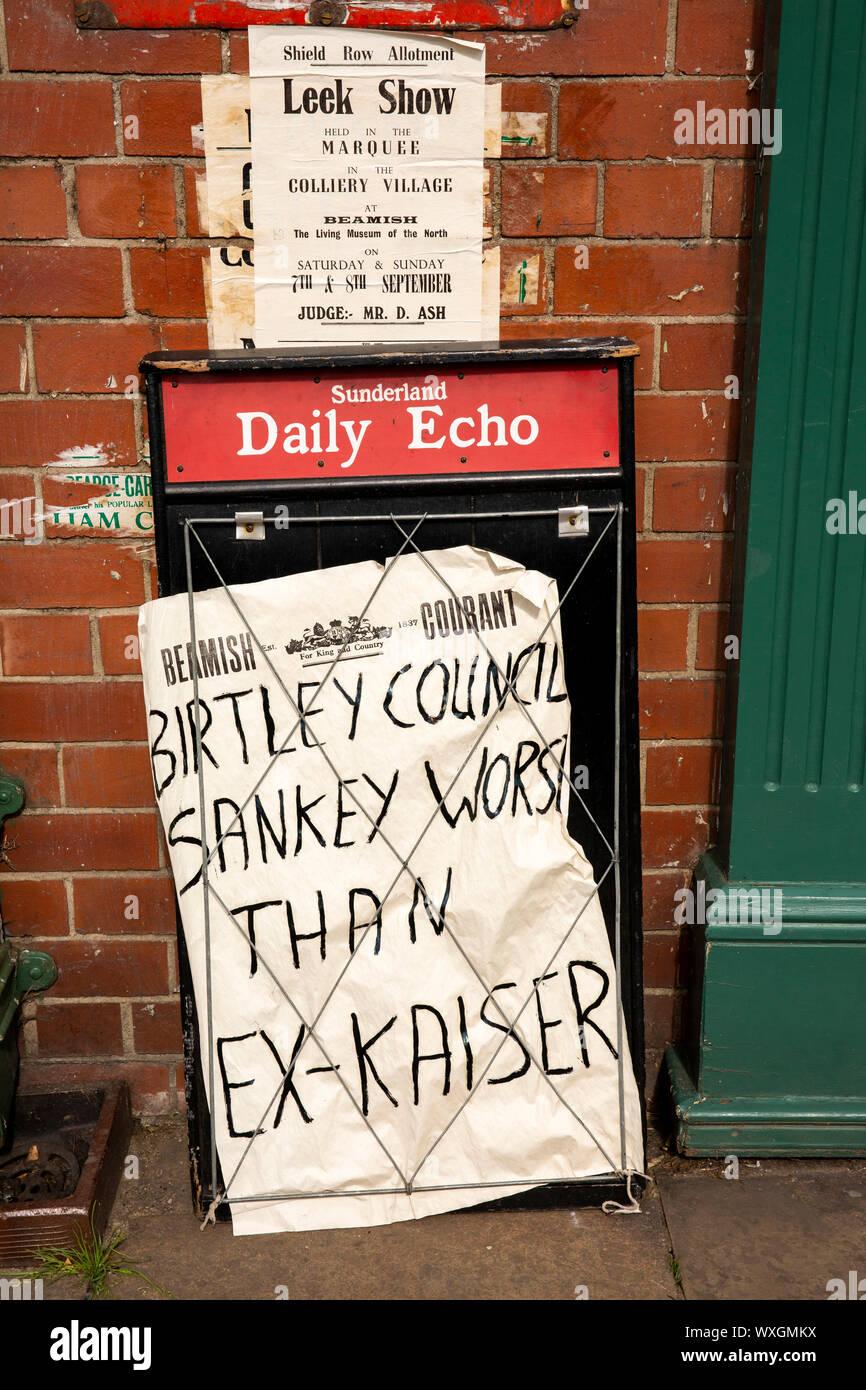 UK, County Durham, Beamish, Museum, Town, Main Street, Sunderland Daily Echo newspaper headline board Stock Photo