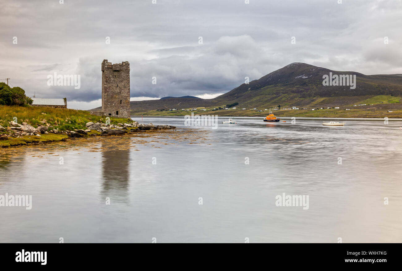 Grace O'Malley's Castle, Kildavnet Tower in County Mayo, Ireland Stock Photo