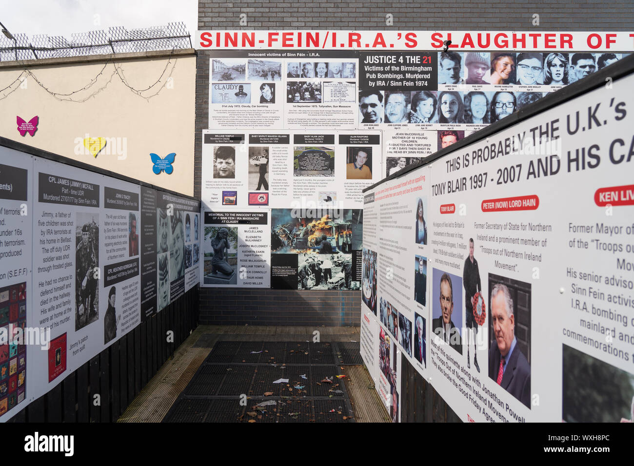Political murals on the unionist side of west Belfast. From a series of travel photos in Belfast. Photo date: Friday, September 6, 2019. Photo: Roger Stock Photo