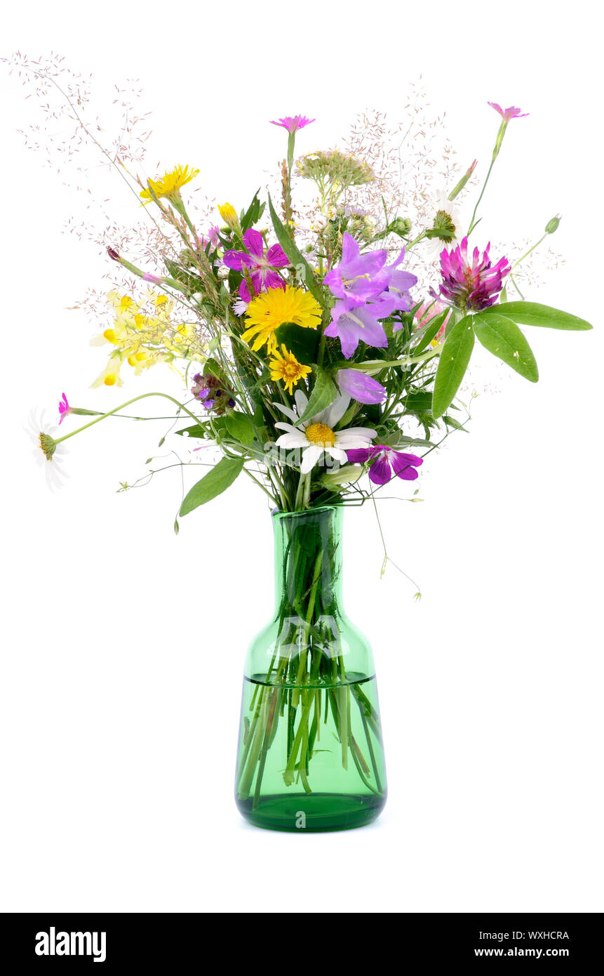 Bouquet of Wildflowers and Various Grass in Green Little Bottle isolated on white background Stock Photo