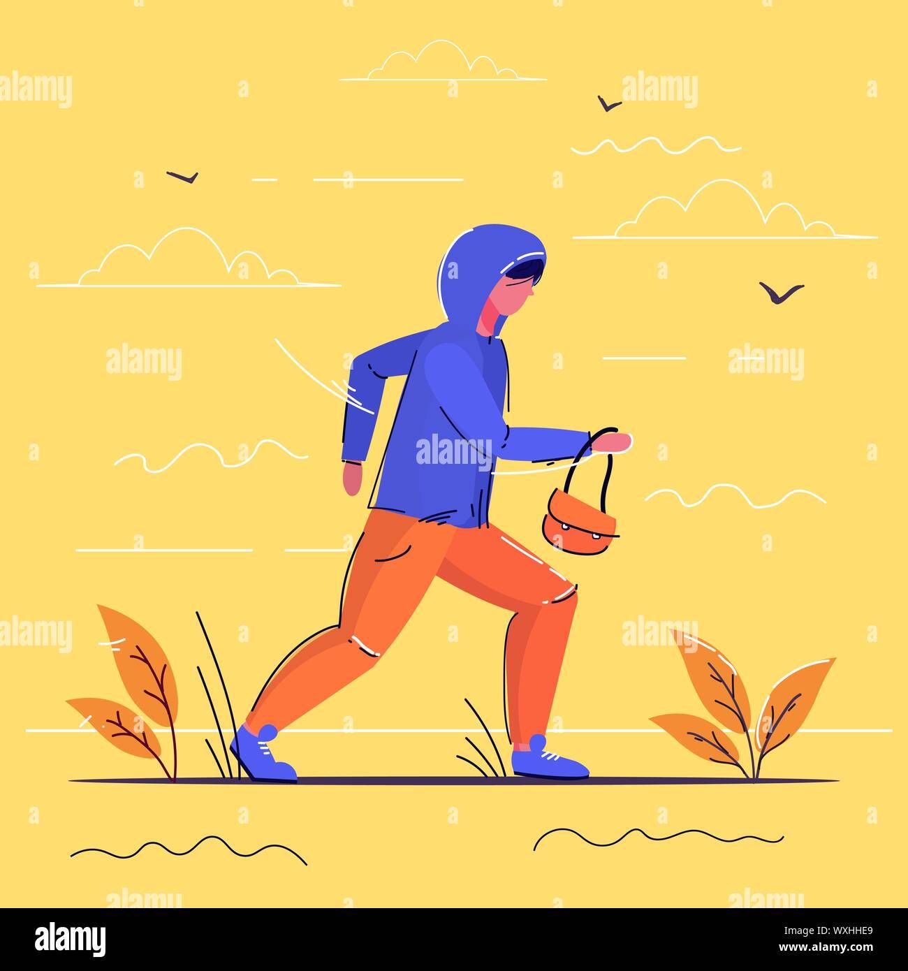 criminal character carrying female handbag robber running away theft concept full length sketch Stock Vector