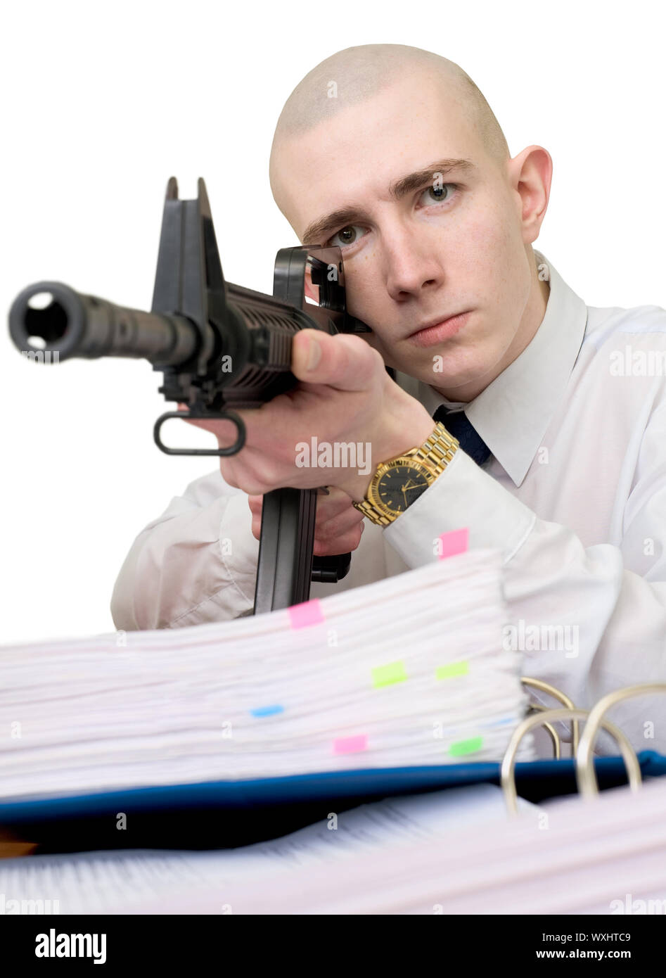 The chief accountant armed with a rifle Stock Photo