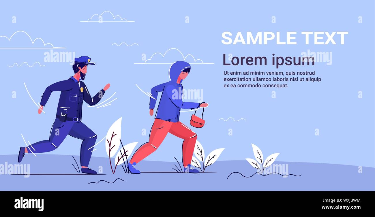 police officer trying to catch thief policeman in uniform pursuing burglar with woman's bag security service concept robber running away from Stock Vector