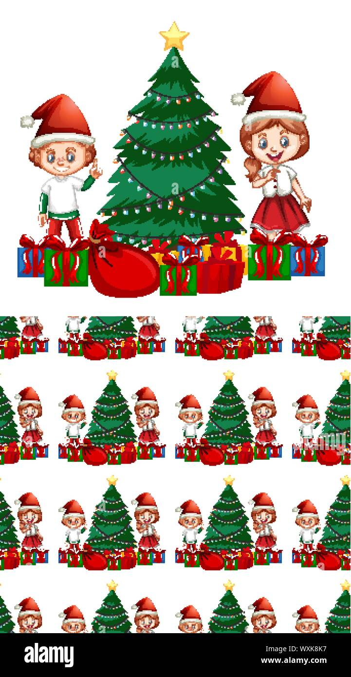 Seamless Background Design With Kids And Christmas Tree Illustration Stock Vector Art Illustration Vector Image 274560475 Alamy