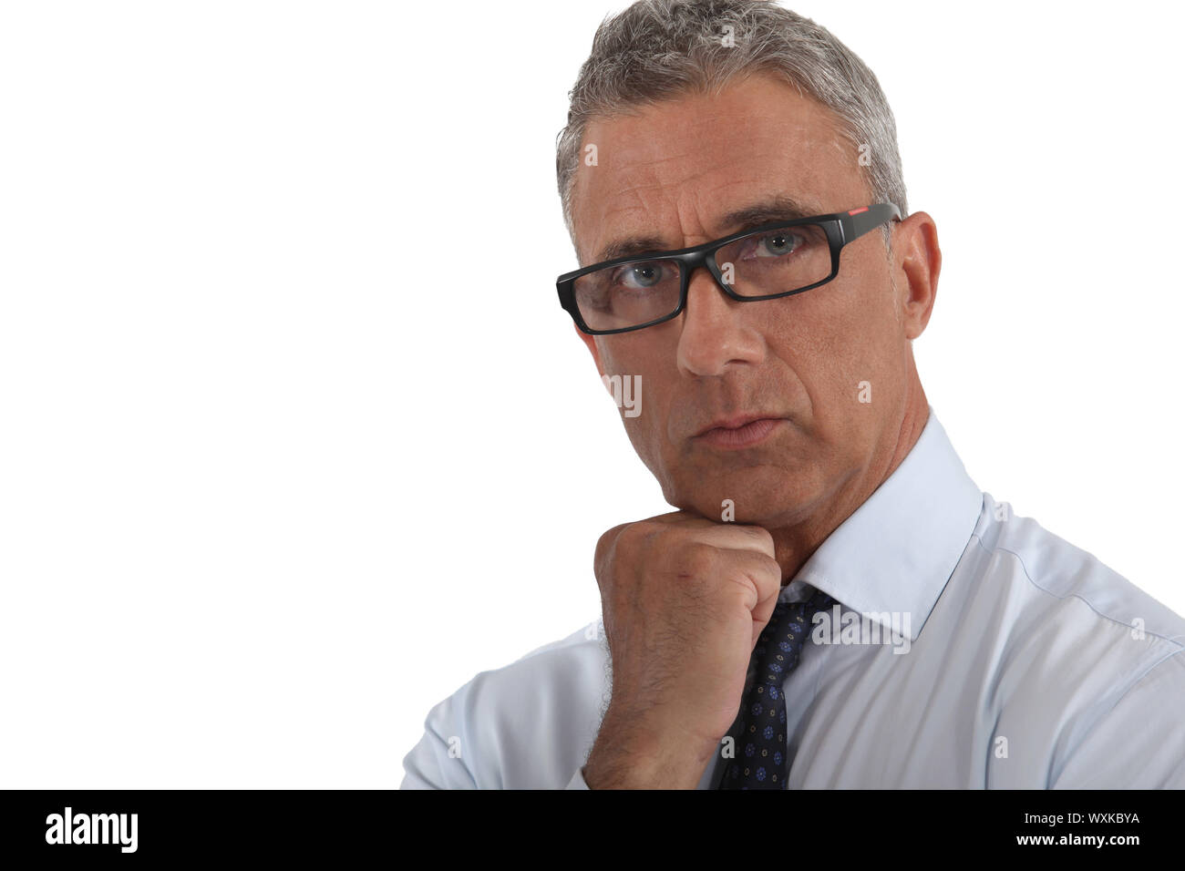 Portrait of a man wearing thick-rimmed glasses Stock Photo
