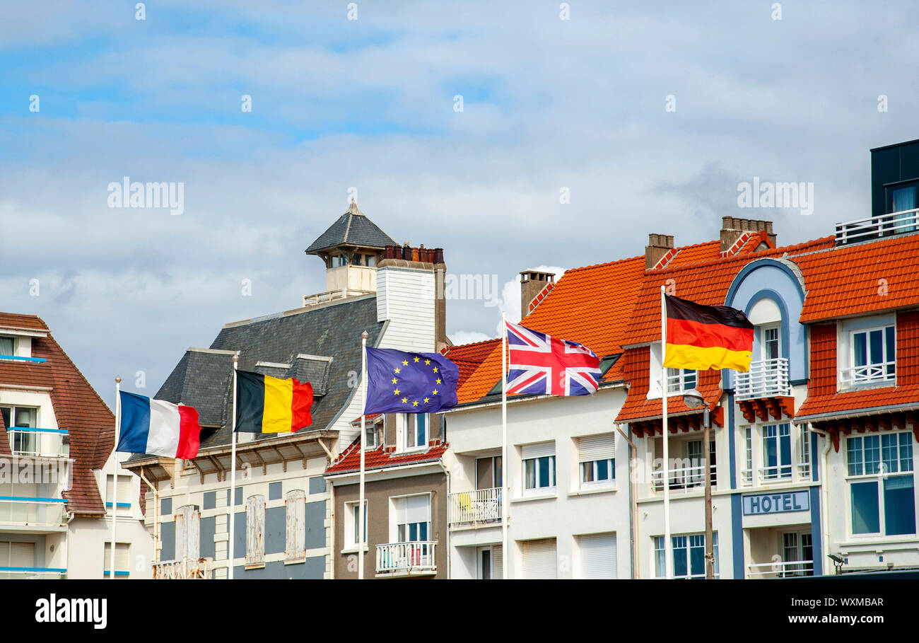 European and EU flags, Wimereux, France Stock Photo