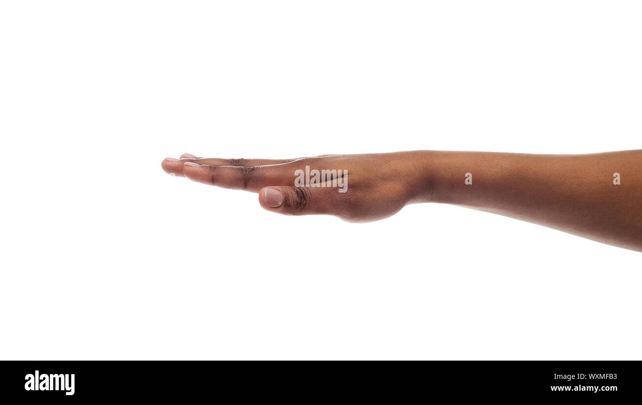 Outstretched black female hand isolated on white background Stock Photo