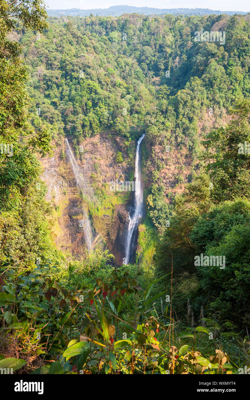 Stunning Tad Fane waterfall from above, Paksong, Laos Stock Photo