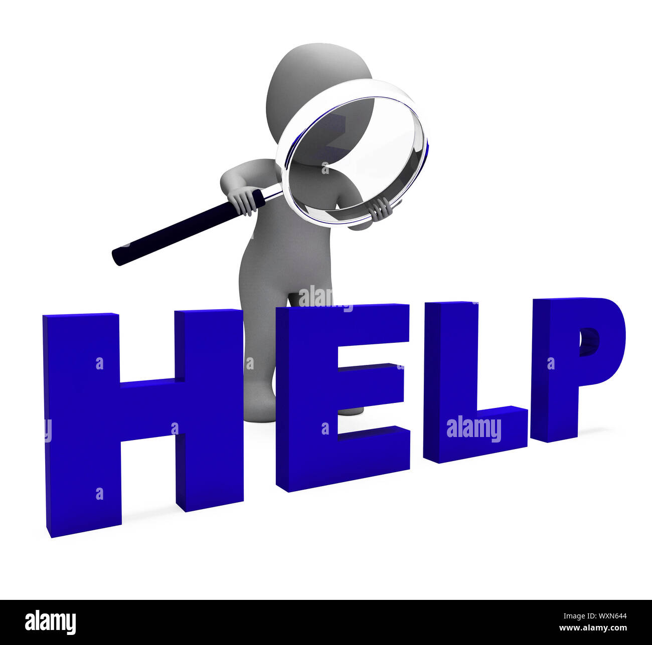 Help Character Showing Helpline Helpdesk Assist Or Support Stock Photo