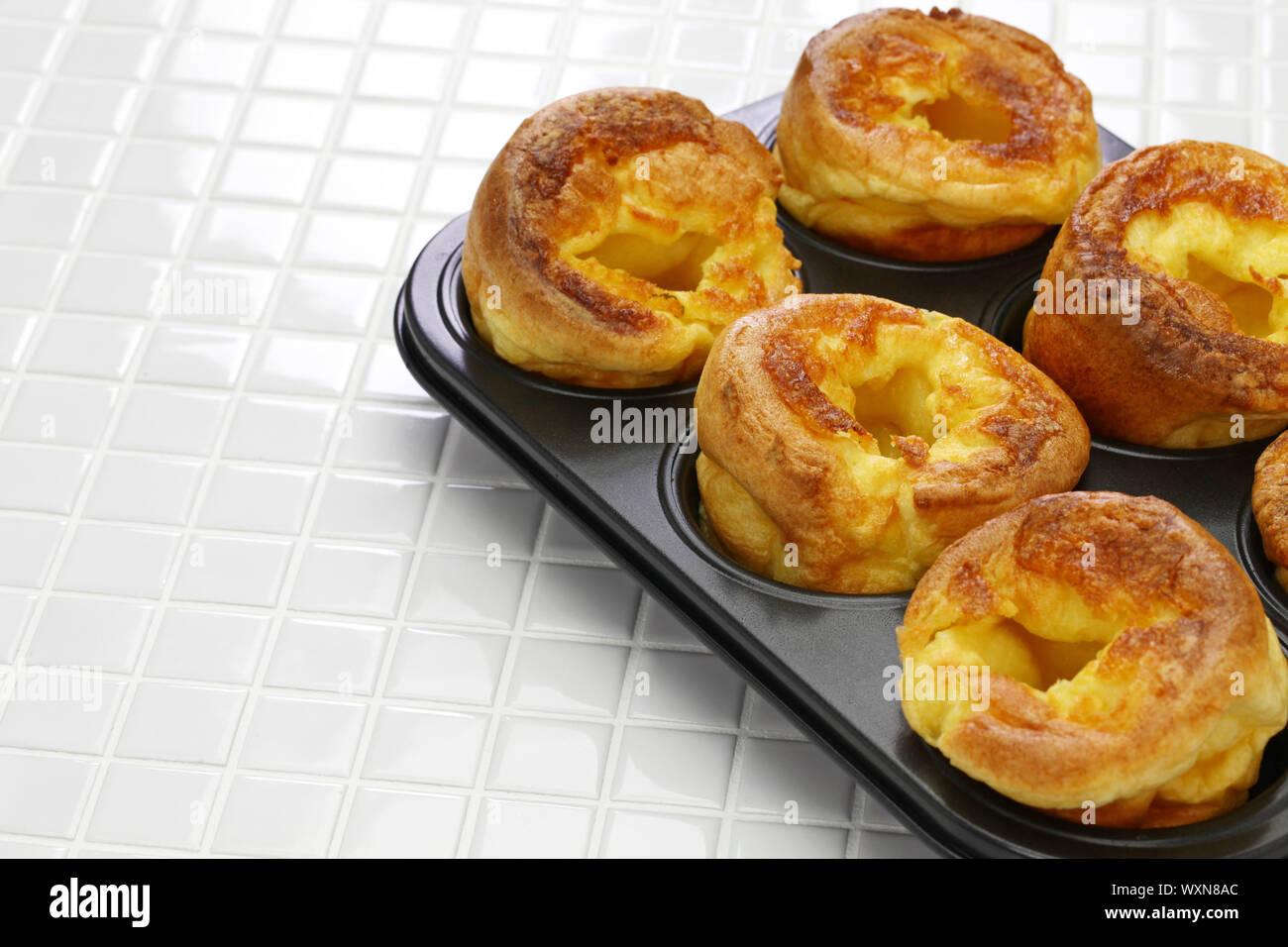 homemade freshly Yorkshire puddings, traditional British side dish Stock Photo