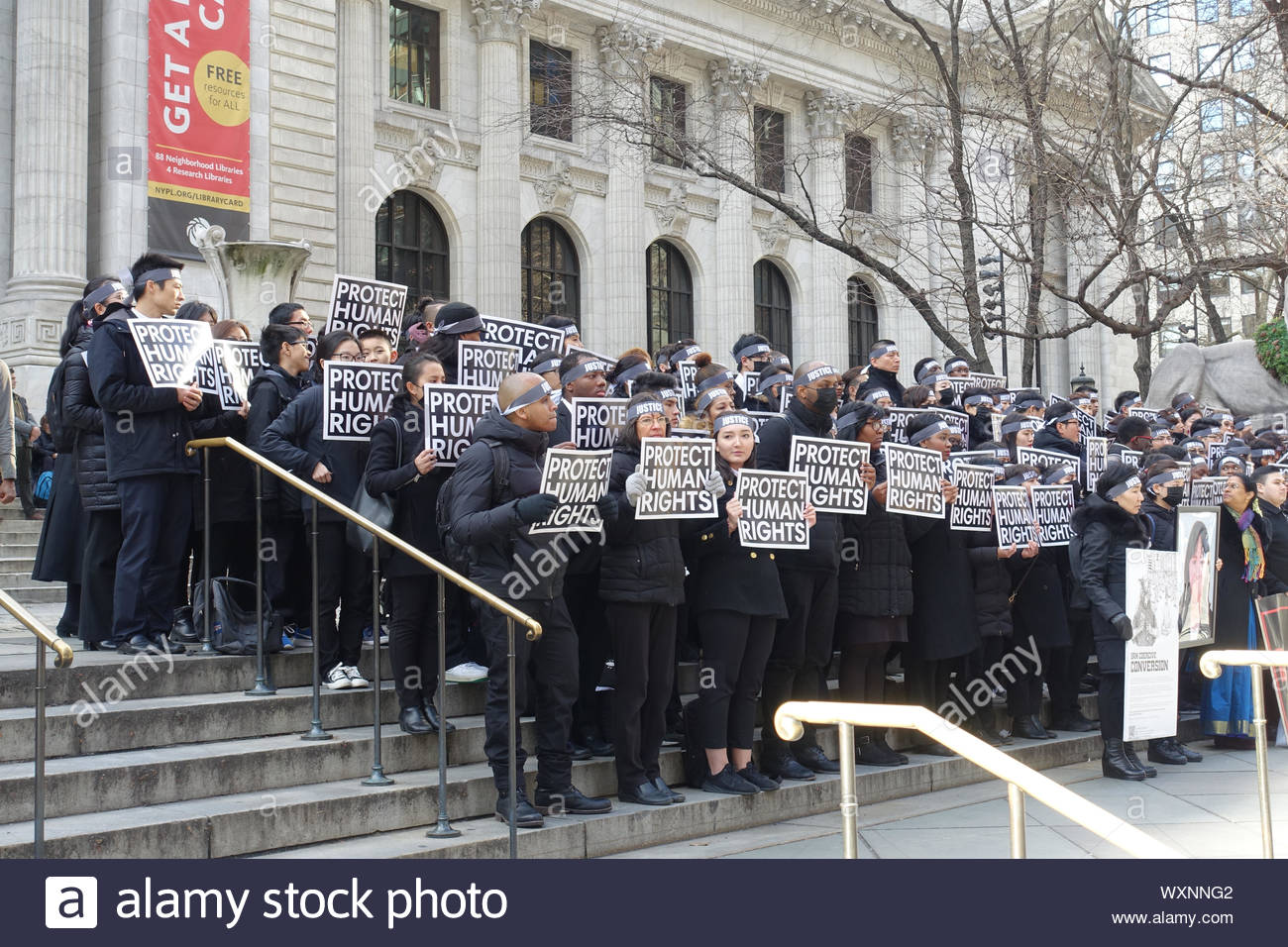 JAN 6, 2019: Human Rights Activists Protest at the New York Public Library on Behalf of Religious Freedom (Coercive Conversion Programs in Korea) Stock Photo