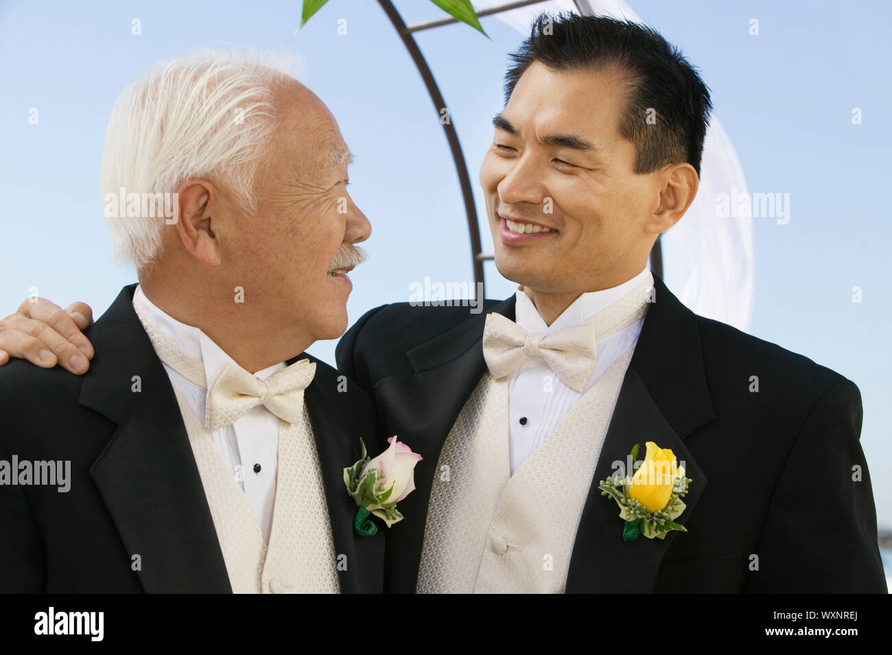 Groom With Arm Around Father Stock Photo