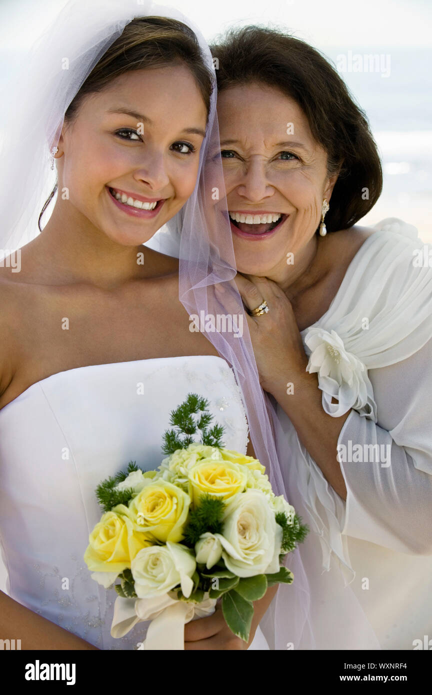 Happy Bride and Mother Stock Photo