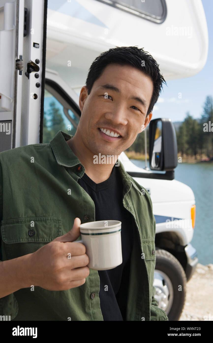 Man on Road Trip Stock Photo