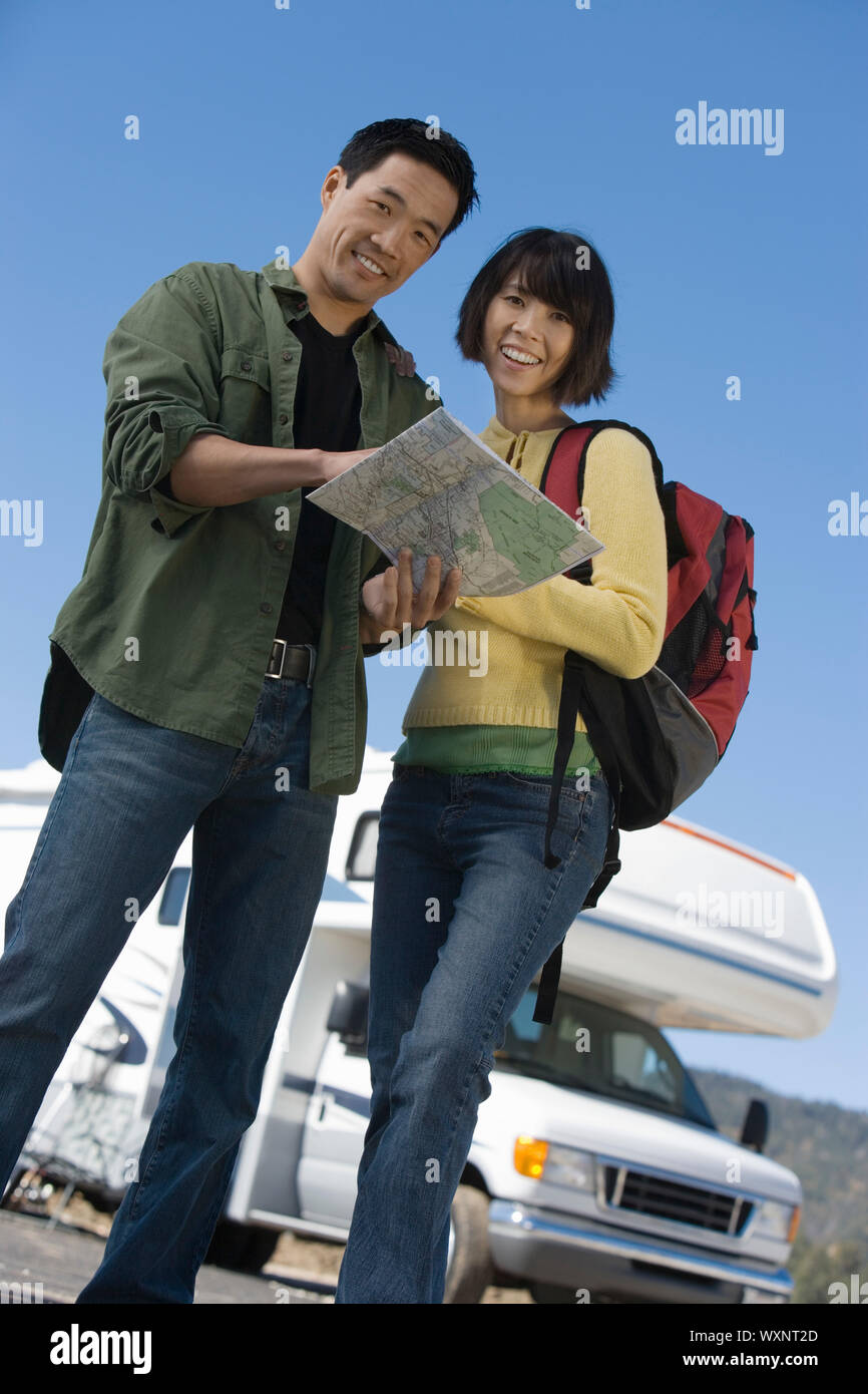Couple on a Road Trip Stock Photo
