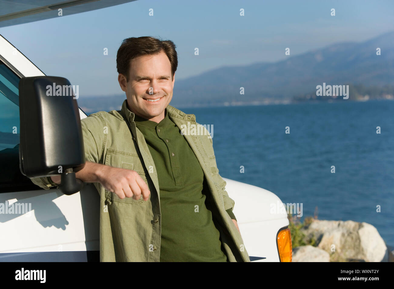 A Man and His RV Stock Photo
