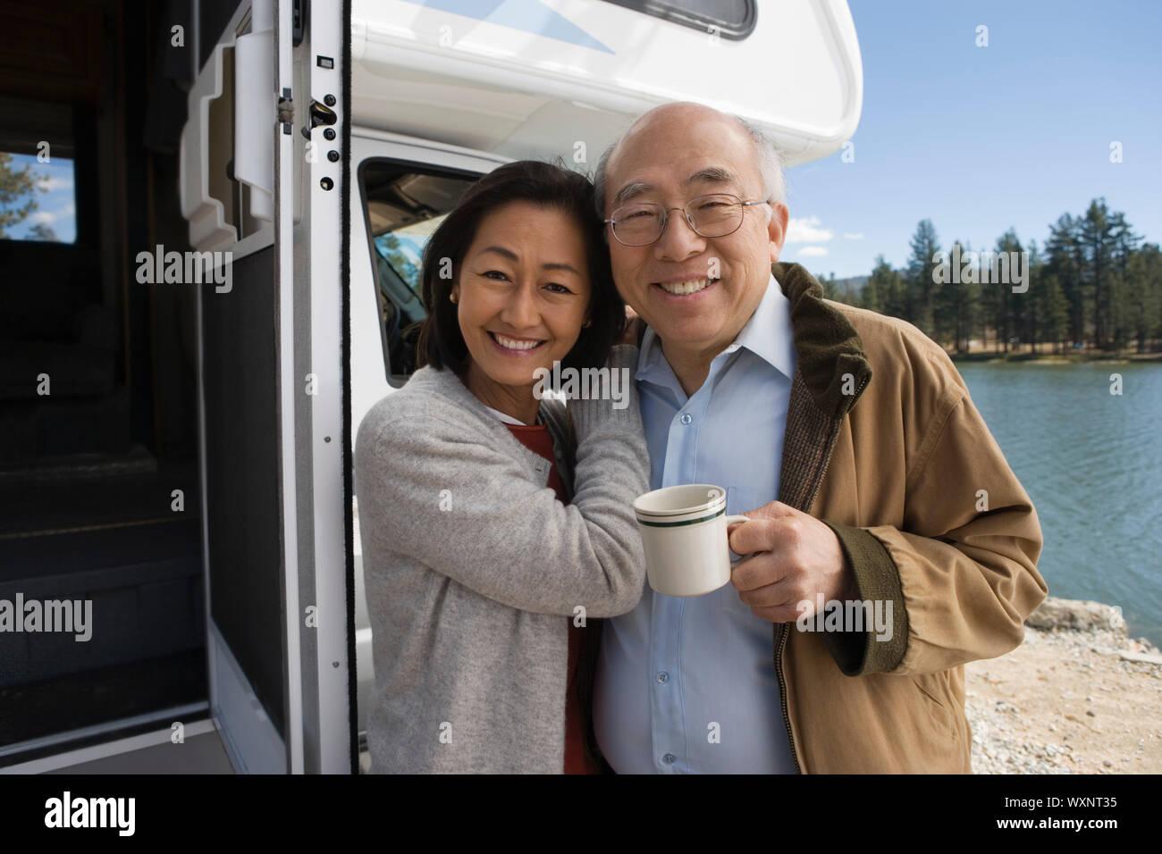 Senior Couple on Road Trip Stock Photo