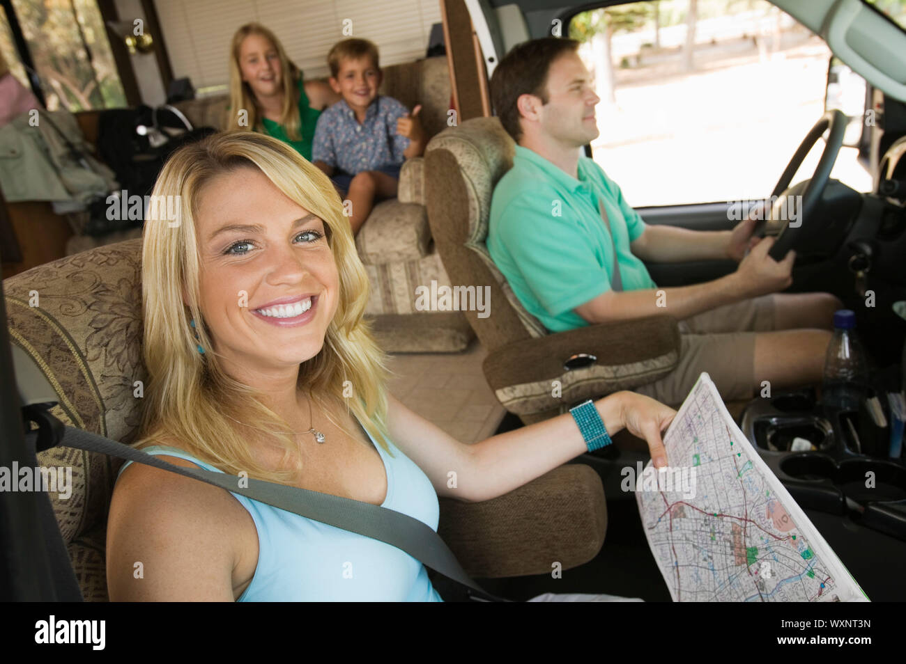 Family in RV on Summer Road Trip Stock Photo