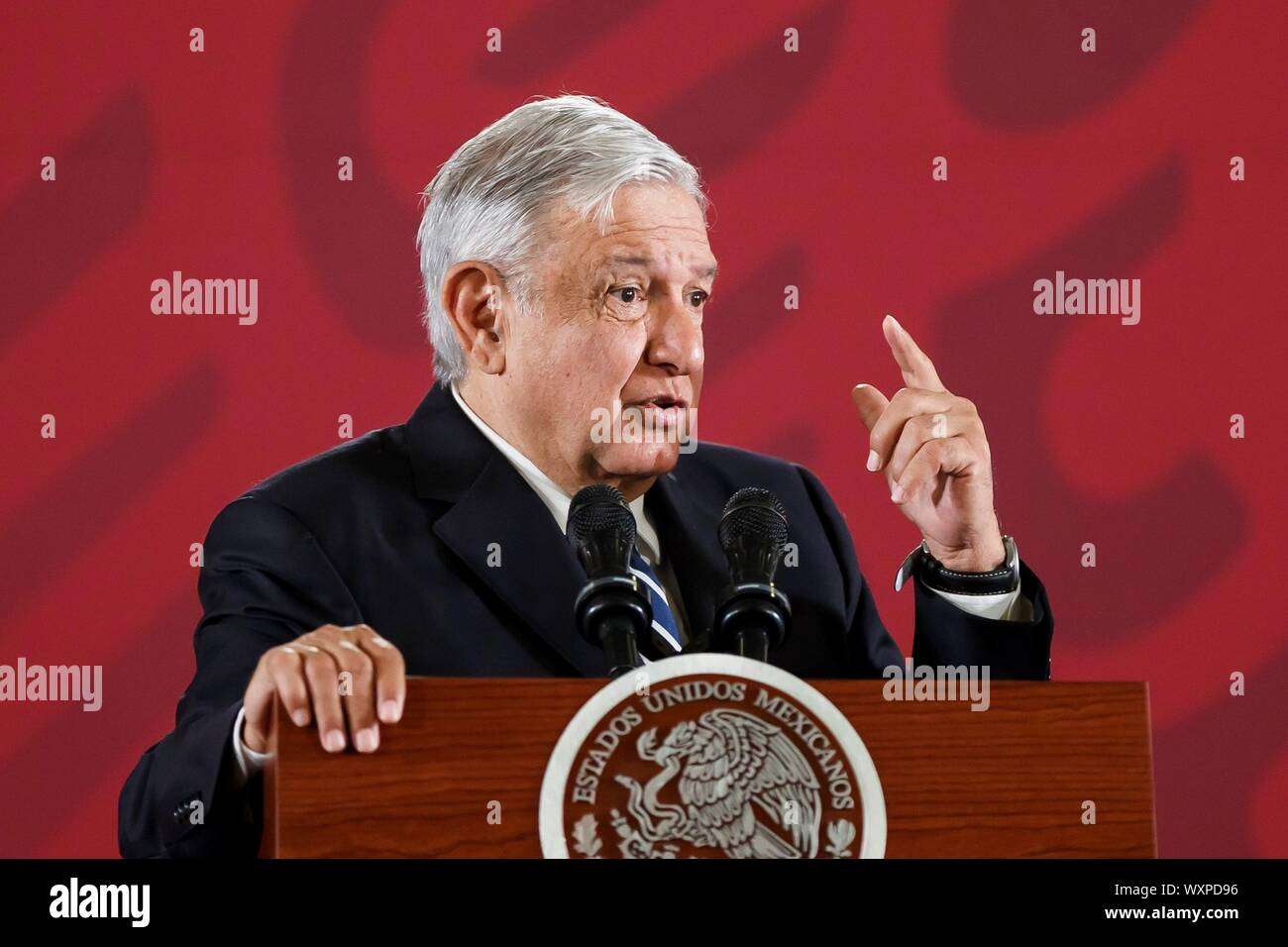 Mexico City, Mexico. 17th Sep, 2019. Mexican President Andres Manuel Lopez Obrador speaks during his morning press conference at the National Palace, in Mexico City, Mexico, 17 September 2019. López Obrador said that the supply and prices of crude oil are 'protected' in the Latin American nation after attacks on Saudi Arabia refineries with drones, which have put the market on hold. Credit: Jose Mendez/EFE/Alamy Live News Stock Photo
