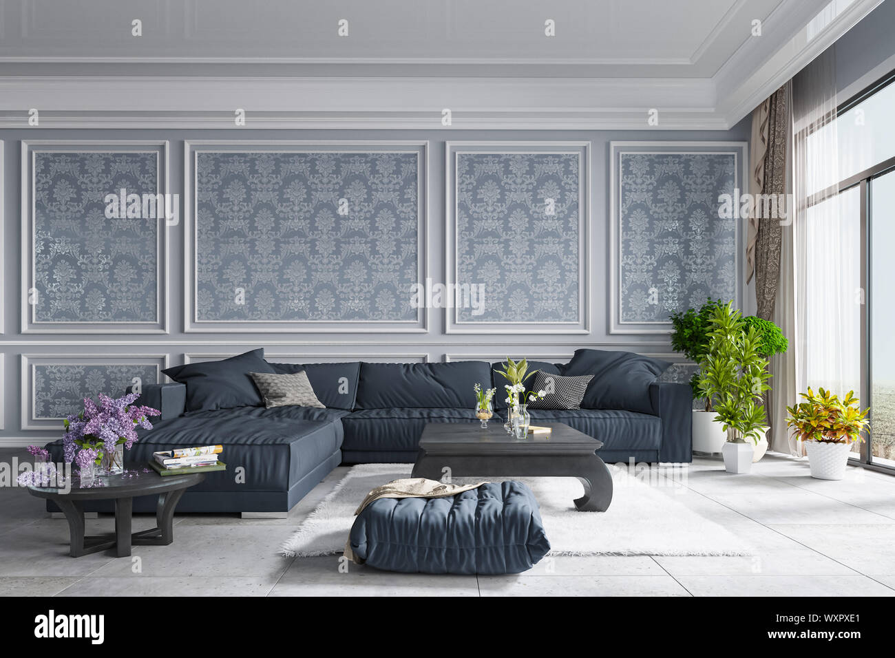 Decorative Background For Home Office And Hotel Modern Interior Design Living Room Room Texture Wall Background And Plants 3d Rendering Stock Photo Alamy