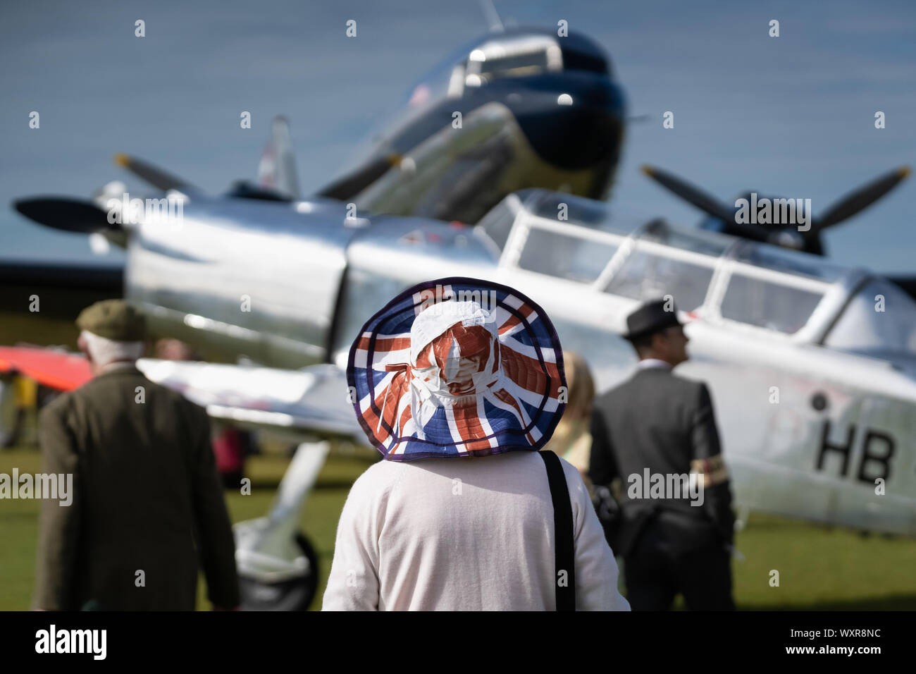 Vintage aircraft on display at Goodwood Revival, Britain's greatest annual classic car show, West sussex, UK. Stock Photo