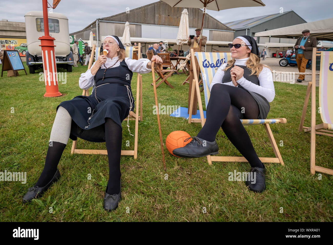 Vintage-themed Goodwood Revival. Britain's greatest annual classic car show celebrates the mid-20th-century heyday of the Goodwood racing circuit. Stock Photo