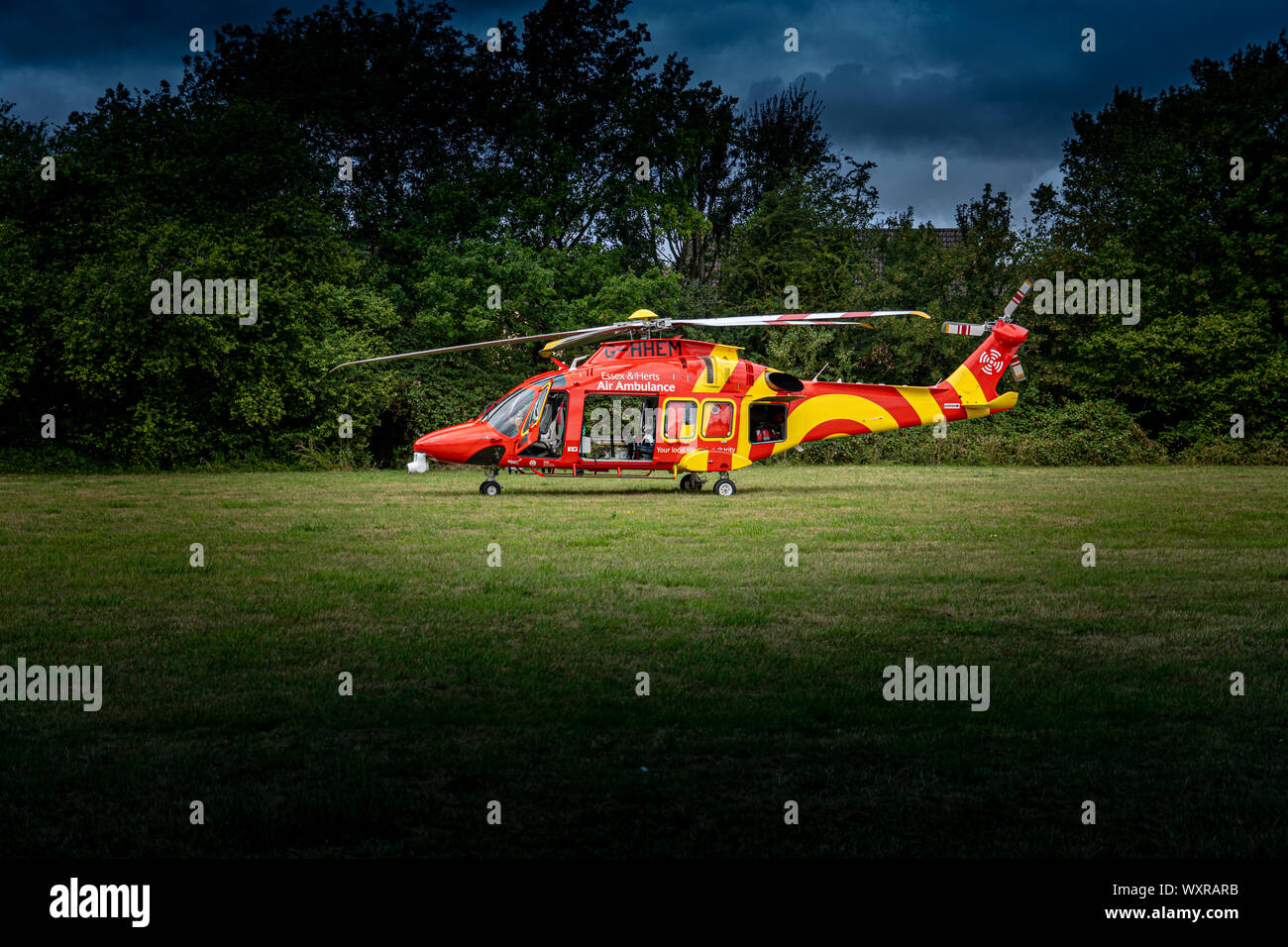 Bishops Stortford Hertfordshire England September 8th 2019 - Essex Air Ambulanace Landed in Field by A120 Stock Photo