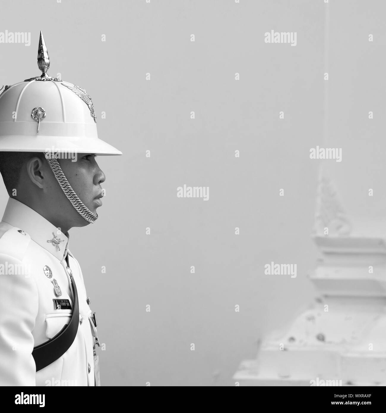 Bangkok / Thailand - Armed guards by the royal palace in Bangkok. Black and white photo. Stock Photo