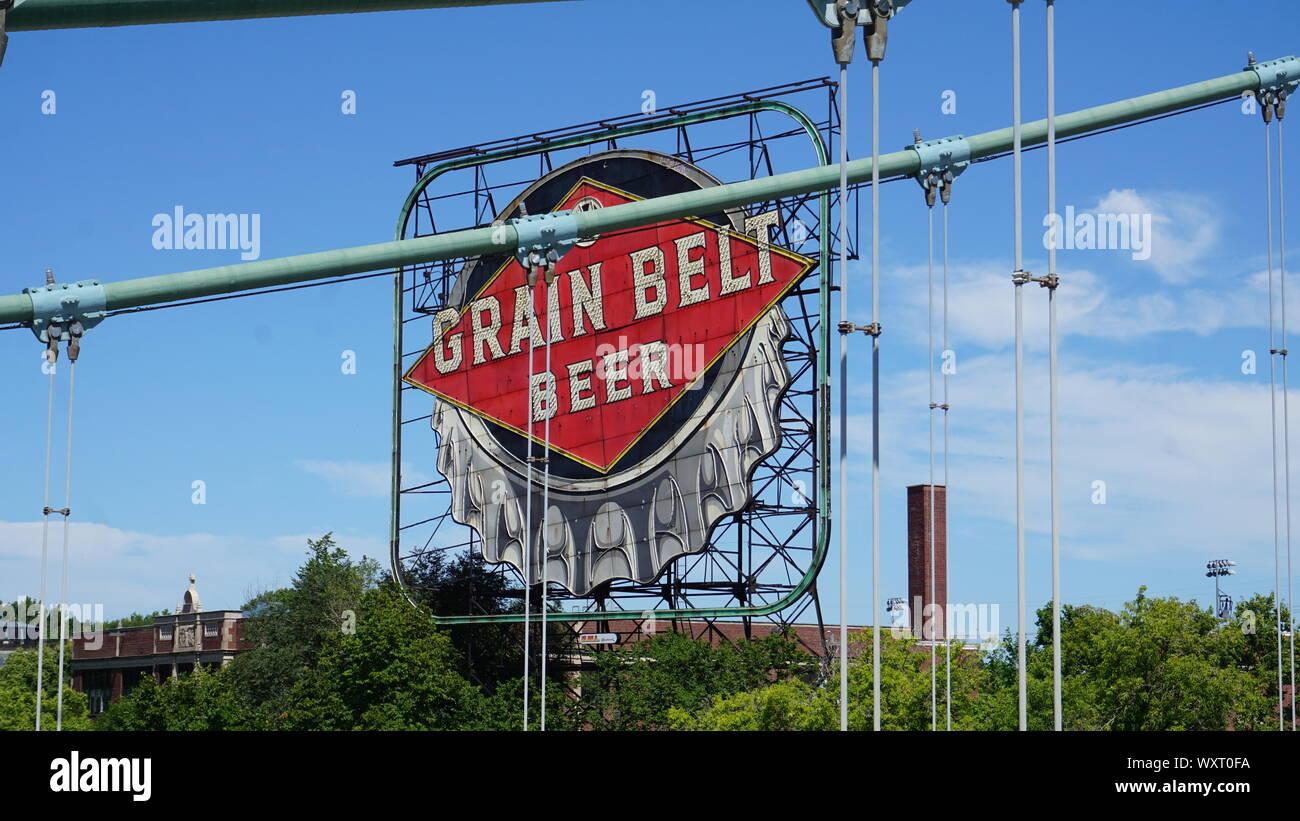 Vintage Grain Belt Beer sign on Nicollet Island behind the ...