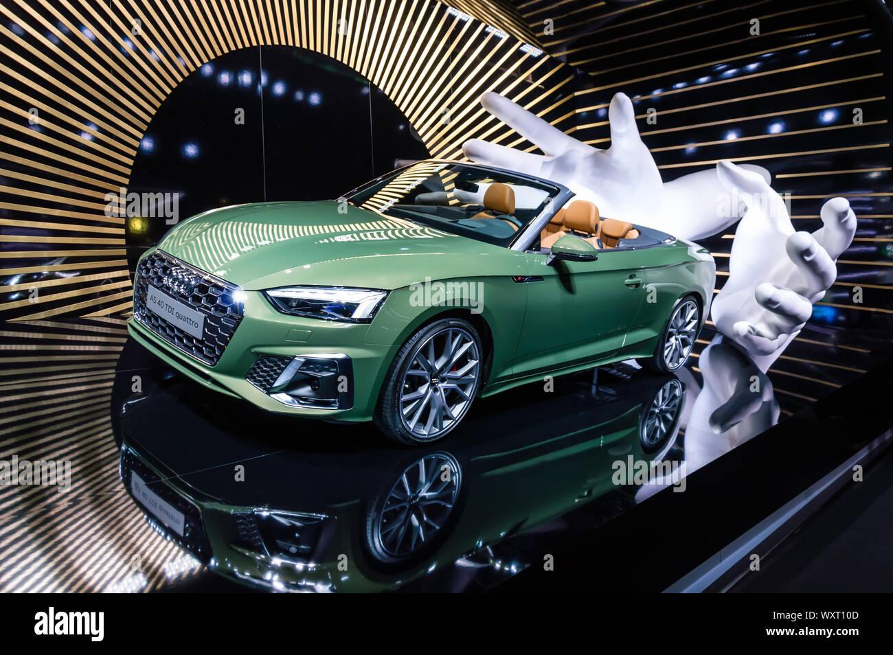 Frankfurt Sep 15 2019 New Audi A5 40 Tdi Quattro Cabriolet Car In Green Metallic Facelift For Luxury Cabrio Presented At Iaa 2019 Frankfurt Moto Stock Photo Alamy