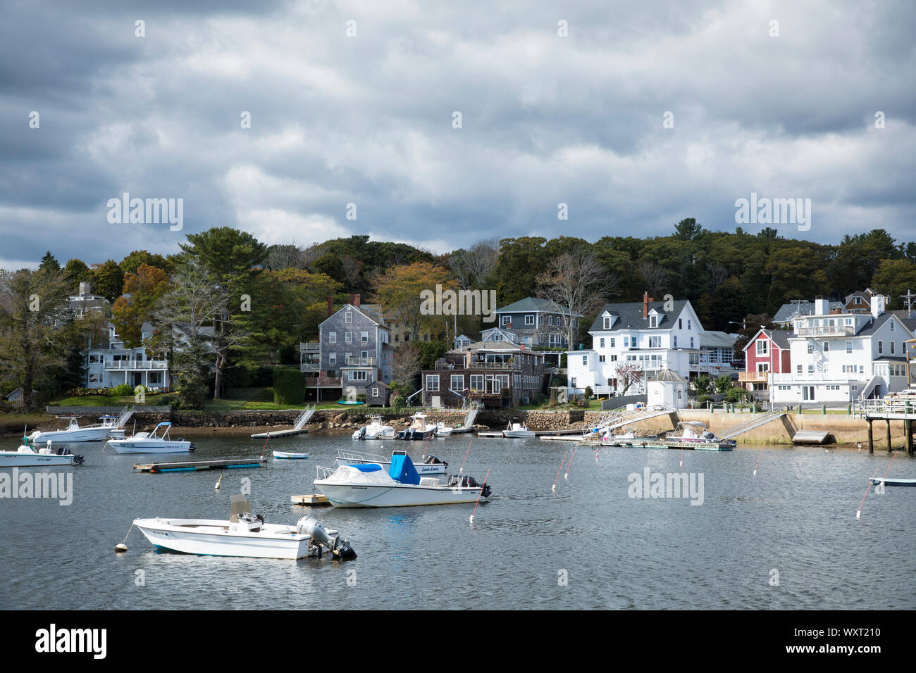 Boats moored in the harbour at Manchester-by-the-Sea. Massachusetts, USA Stock Photo