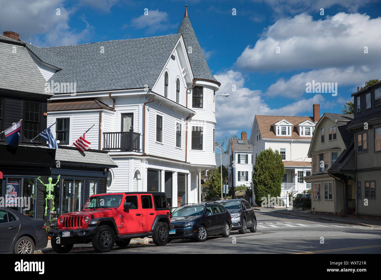 American red Jeep parked by Bar and Restaurant at Manchester-by-the-Sea. Massachusetts, USA Stock Photo