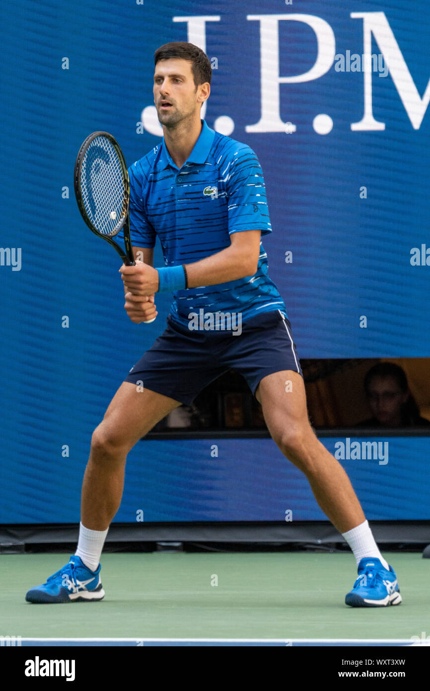 Novak Djokovic Of Serbia Competing In The First Round Of The Men S Singles At The 2019 Us Open Tennis Stock Photo Alamy