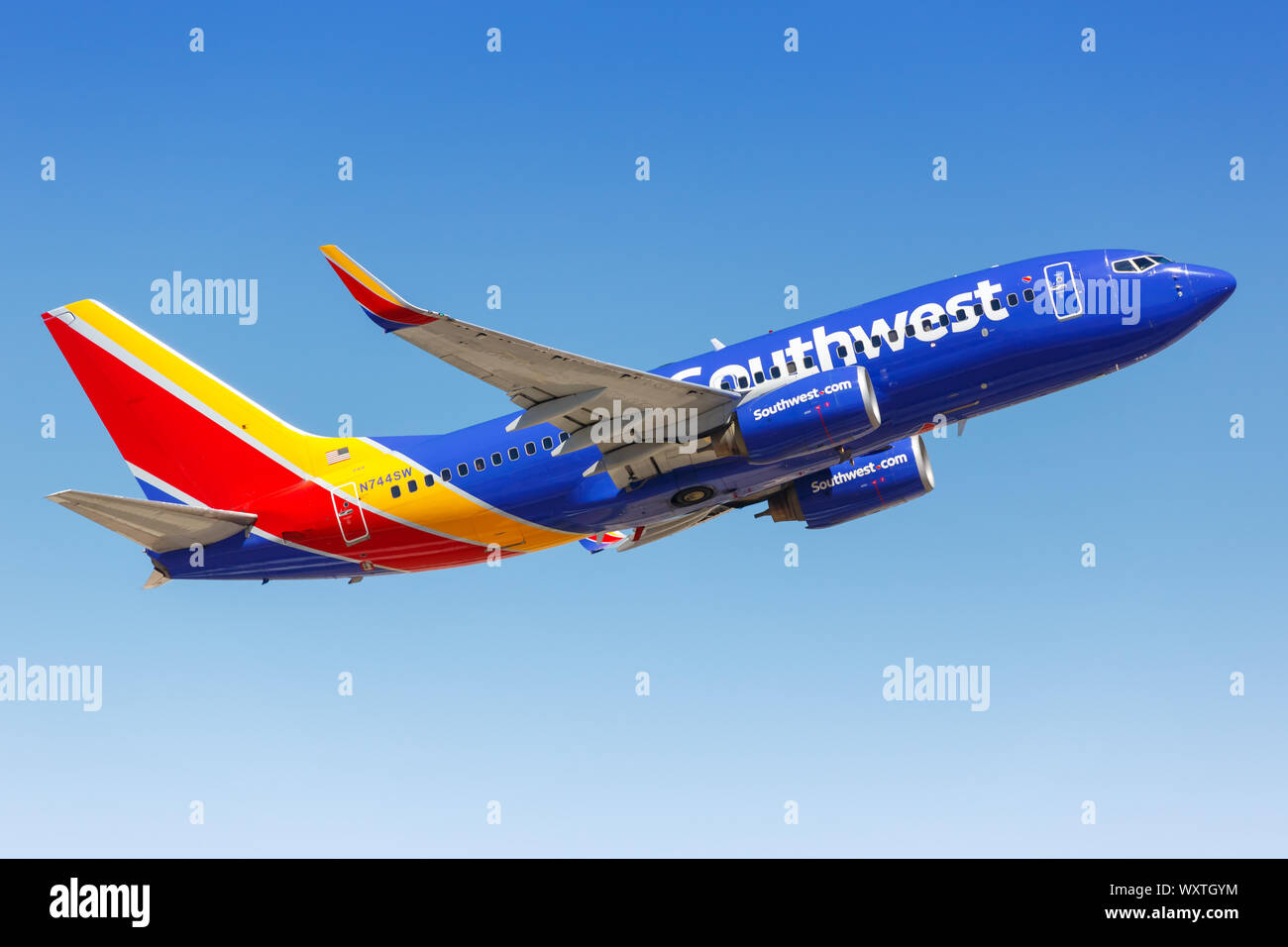 Phoenix, Arizona – April 8, 2019: Southwest Airlines Boeing 737-700 airplane at Phoenix Sky Harbor airport (PHX) in the United States. Stock Photo