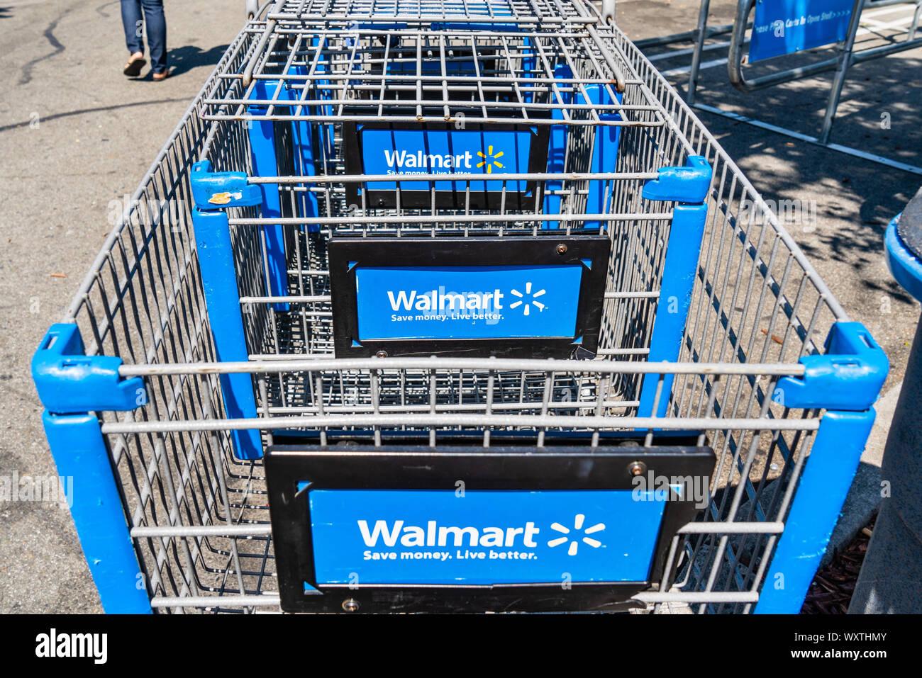 Sep 8 2019 San Jose Ca Usa Walmart Shopping Carts Branded