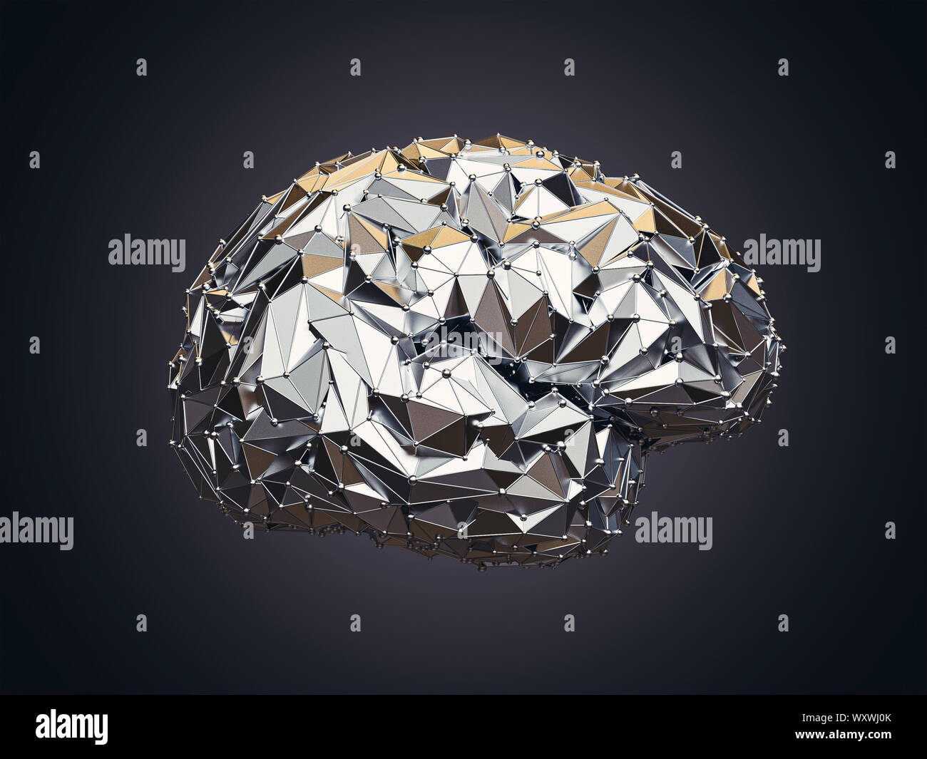 3d illustration of human low poly brain made of metal, AI concept Stock Photo