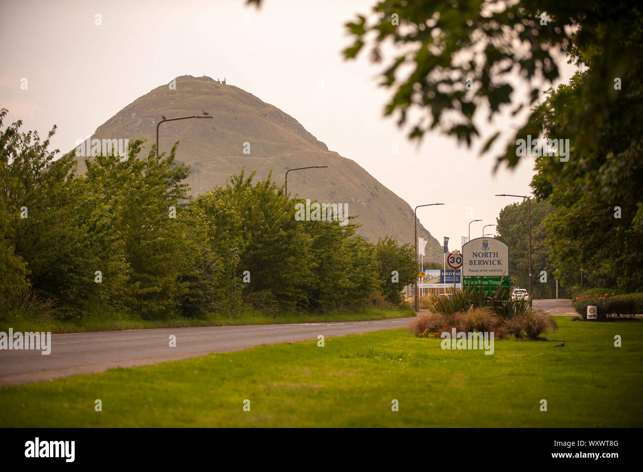 North Berwick Law or Berwick Law is a conical hill in North Berwick. North berwick summer daily scenes and landscapes. Stock Photo