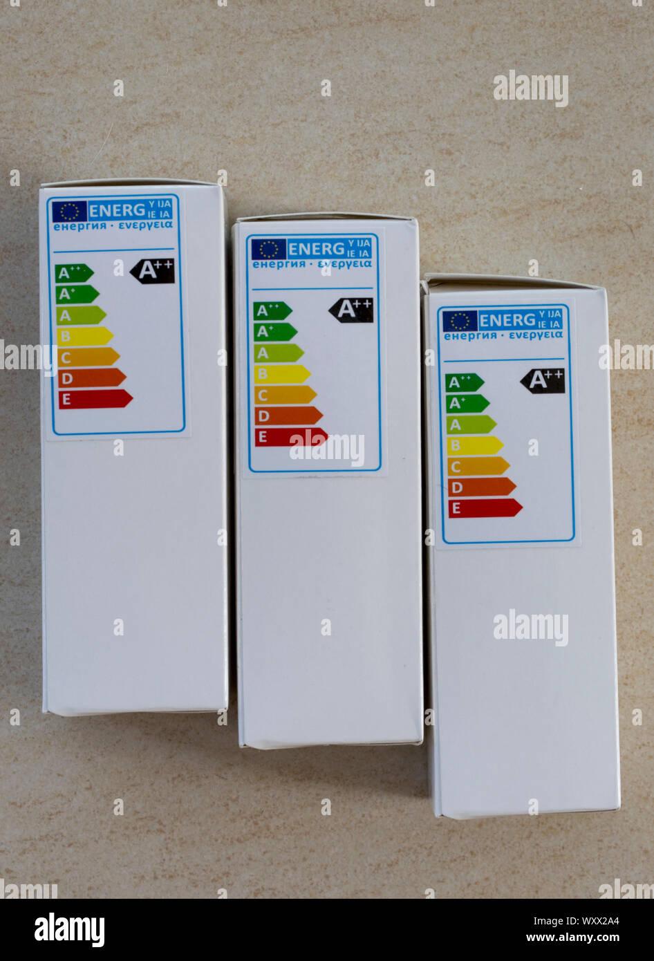 A++ energy efficiency label on LED lamp box UK Stock Photo
