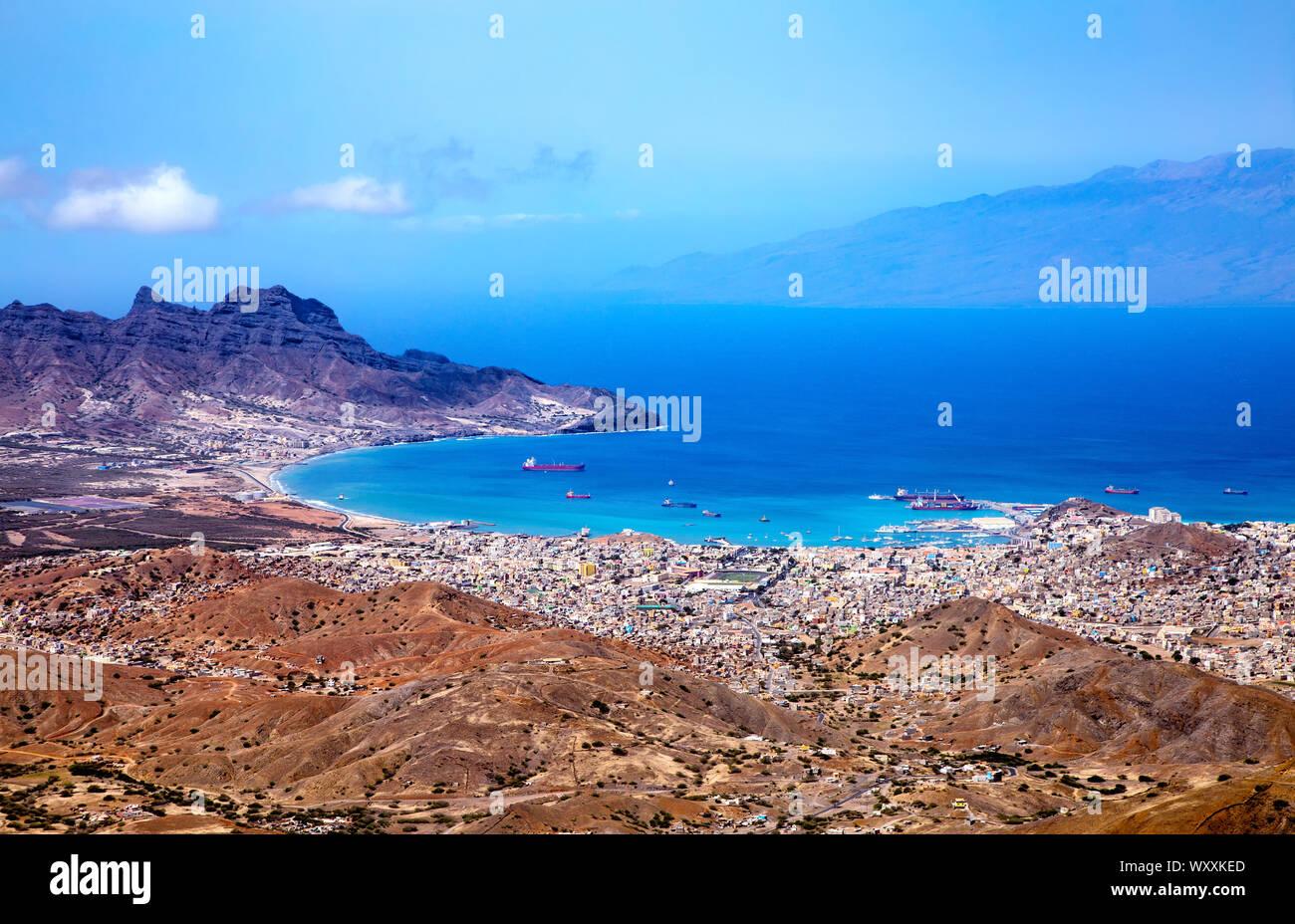 Bay and town of Mindelo, Island São Vicente, Cape Verde, Cabo Verde, Africa. Stock Photo