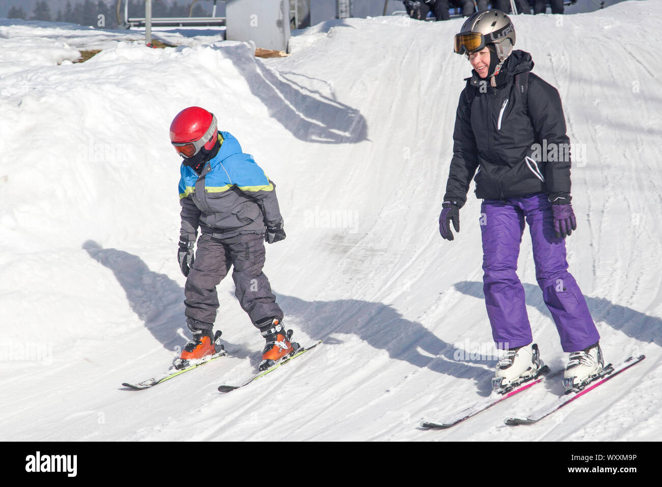 Spindleruv Mlyn / Czech Republic - Boy learning skiing in a czech ski resort. Stock Photo