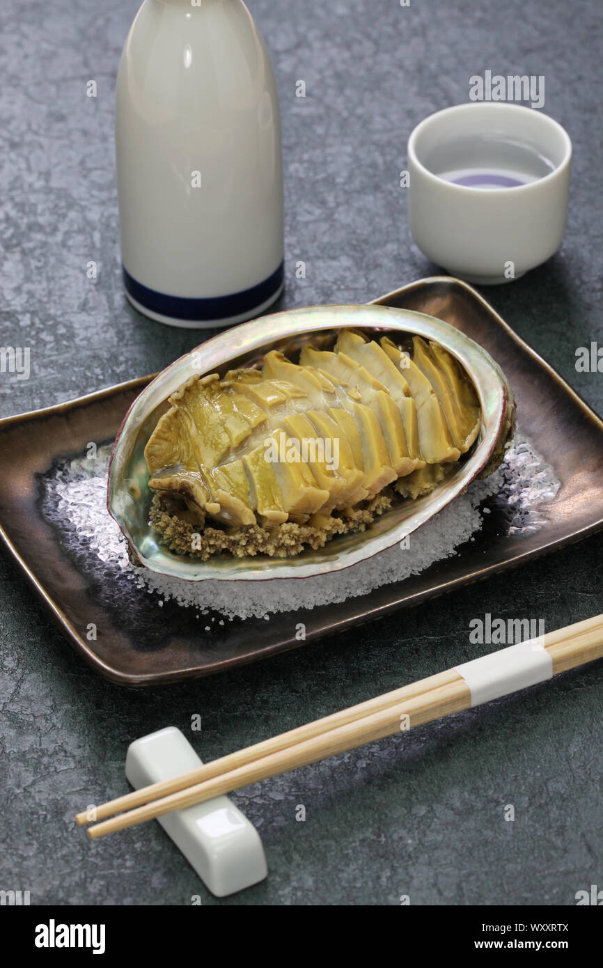 steamed abalone with sake, awabi no sakamushi, japanese cuisine Stock Photo