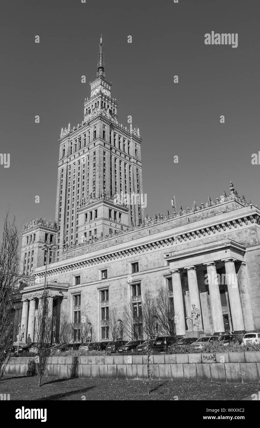 A black and white picture of the Palace of Culture and Science, in Warsaw. Stock Photo