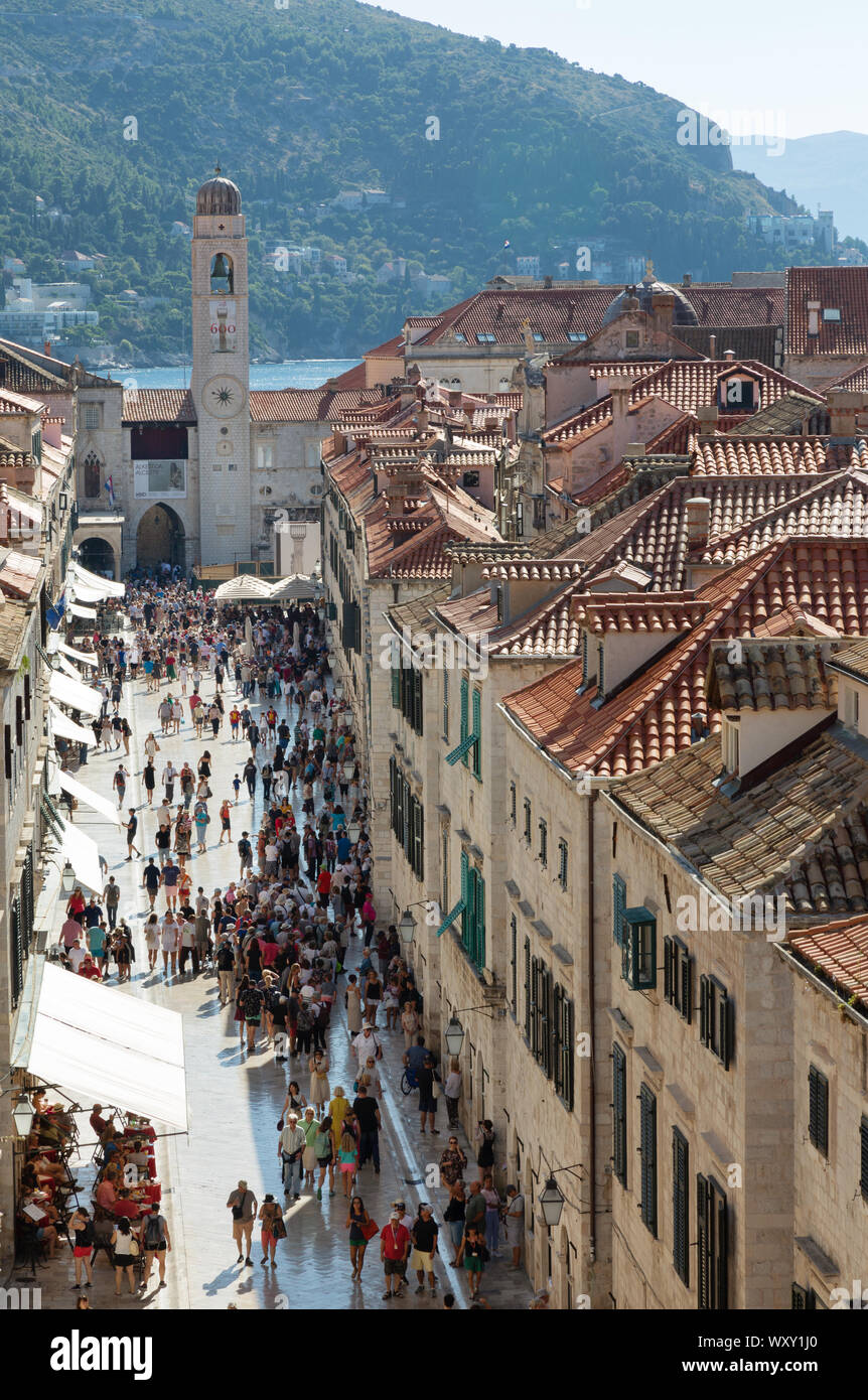 Dubrovnik Croatia; view of the main street, Stradun, seen from the walls of the medieval UNESCO World heritage site, Dubrovnik old town Croatia Europe Stock Photo