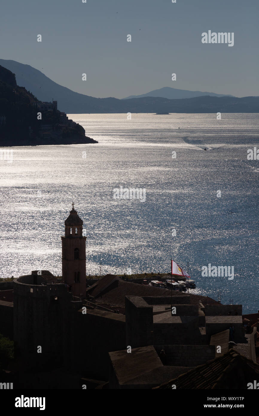 Dalmatian Coast and the bell tower of the Dominican Monastery, early morning, Dubrovnik old town, UNESCO world heritage site, Dubrovnik Croatia Europe Stock Photo