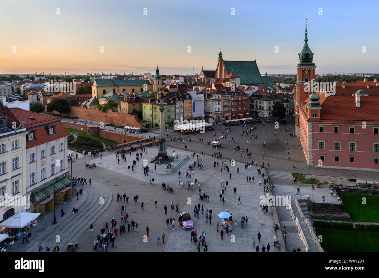 Panorama of Royal Castle and Old Town in Warsaw during sunset, Poland Stock Photo